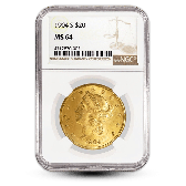 $20 Liberty Head Gold Double Eagle - NGC/PCGS MS64 - Random Year