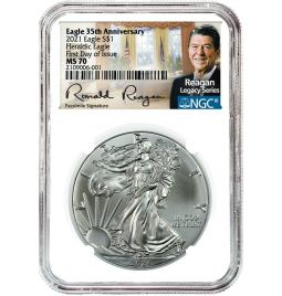 2021 $1 Silver American Eagle - MS70 NGC - First Day of Issue - Reagan Legacy Series